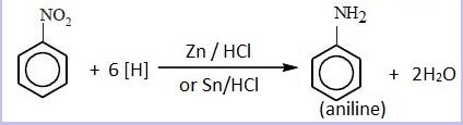Reduction of nitrobenzene in acidic medium