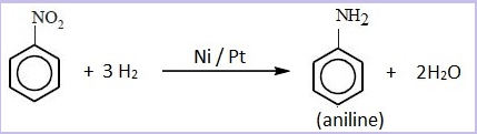 Catalytic reduction of nitrobenzene